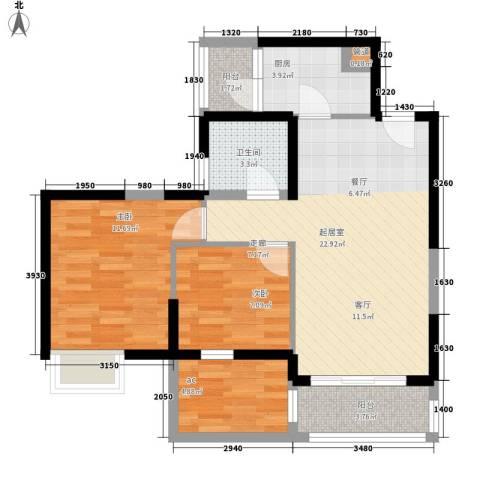 中惠沁林山庄2室0厅1卫1厨72.00㎡户型图