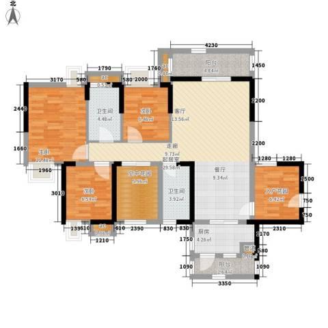 中惠沁林山庄3室0厅2卫1厨131.00㎡户型图