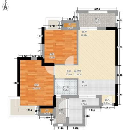 中惠沁林山庄2室0厅1卫1厨74.00㎡户型图