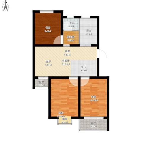星海新村3室1厅1卫1厨100.00㎡户型图