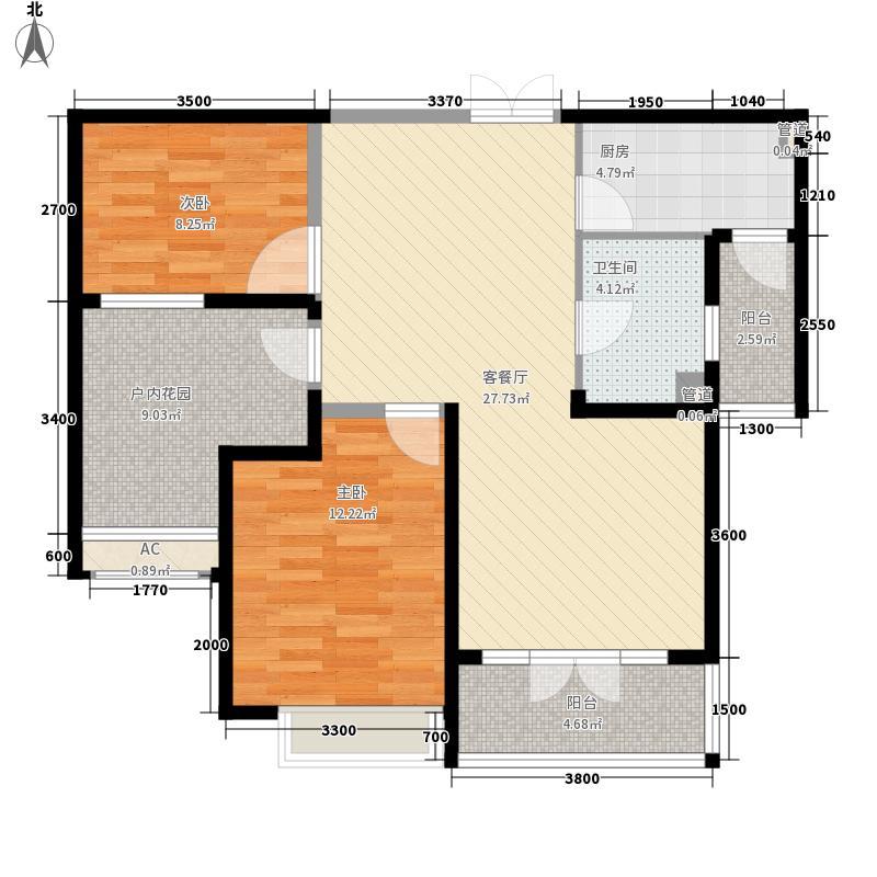 金地湖城大境95.00㎡洋房系2T3南向B户型2室2厅