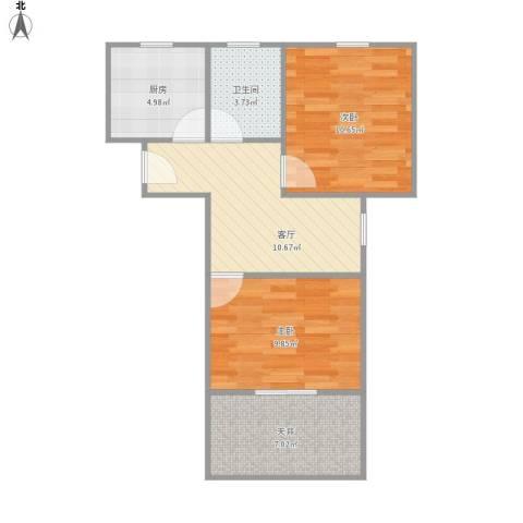 呼玛一村2室1厅1卫1厨64.00㎡户型图