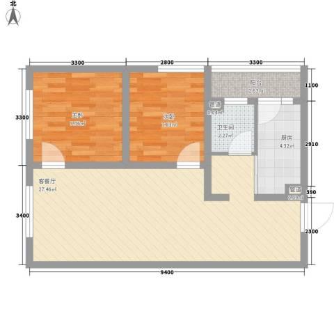高新大都荟2室1厅1卫1厨84.00㎡户型图