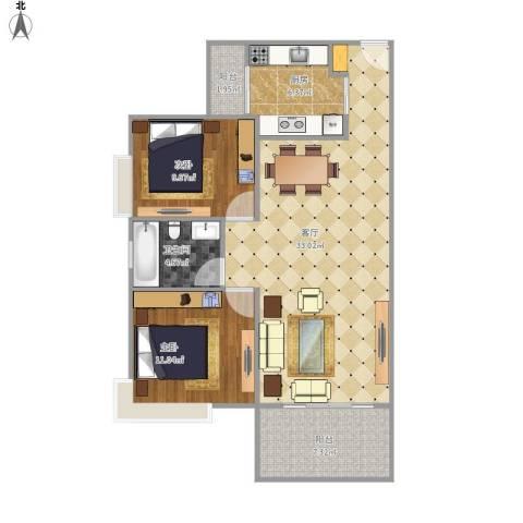 万科金色家园12室1厅1卫1厨100.00㎡户型图