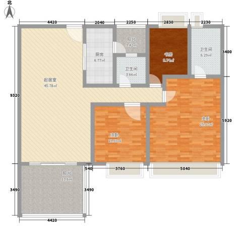伍仙花园3室0厅2卫1厨126.75㎡户型图