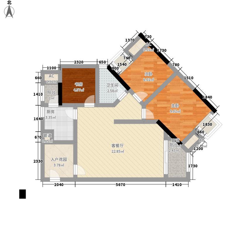 天河南兴花园87.23㎡南兴花园E1面积8723m户型