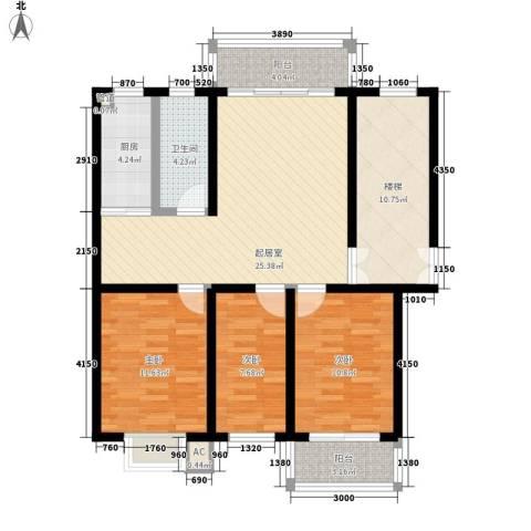 金榜华庭3室0厅1卫1厨122.00㎡户型图