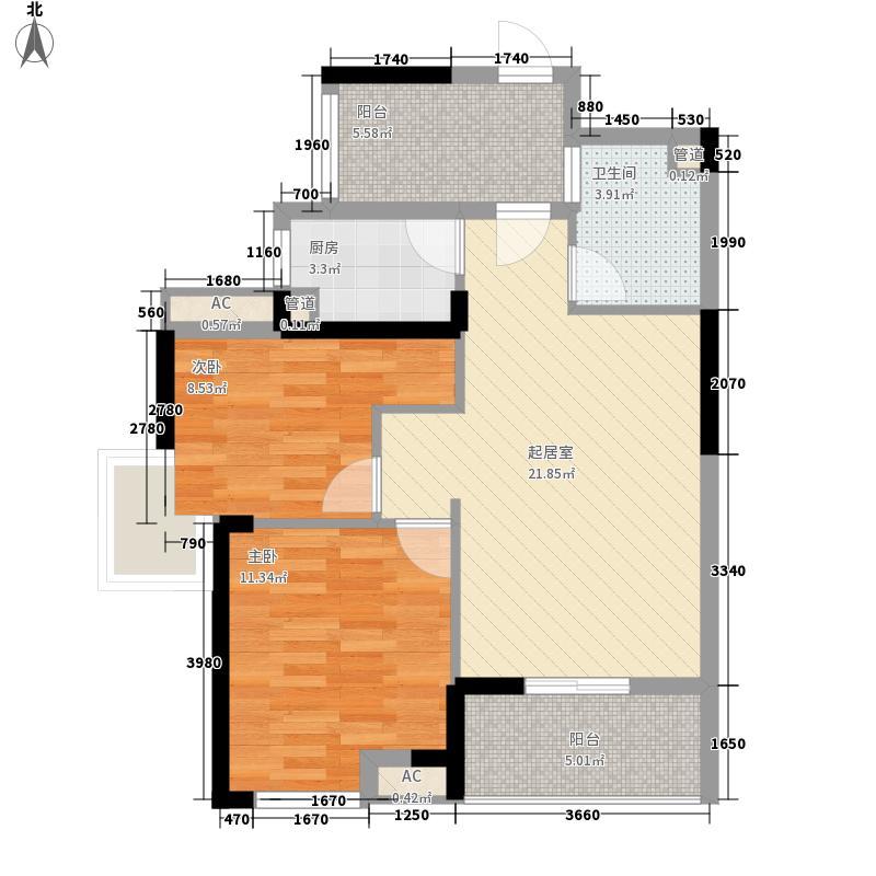 清江山水88.00㎡F户型2室2厅