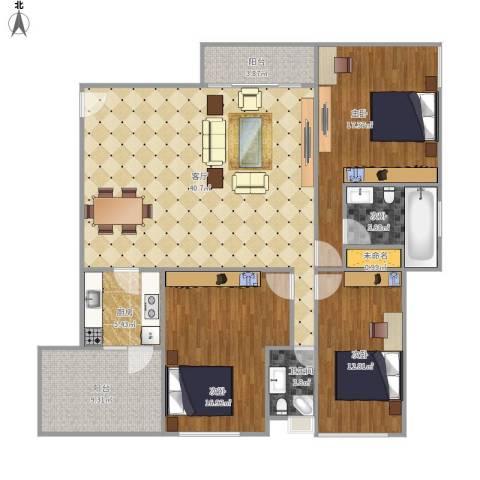 万科金色家园南向单位4室1厅1卫1厨155.00㎡户型图