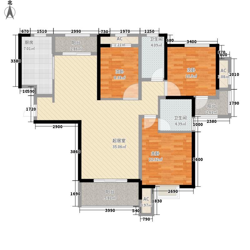 当代安普顿小镇126.56㎡四期21、22号楼H-A户型3室2厅