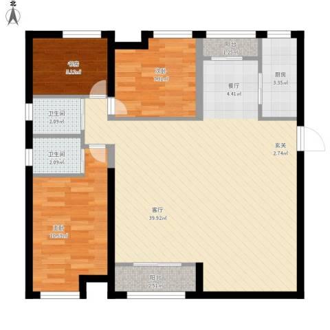 振业城中央3室1厅2卫1厨105.00㎡户型图