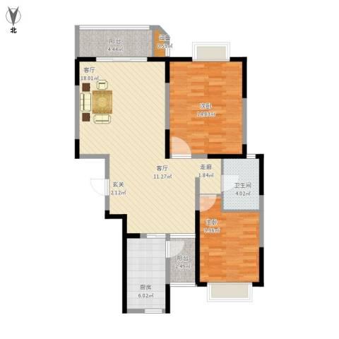花苑新村2室1厅1卫1厨106.00㎡户型图