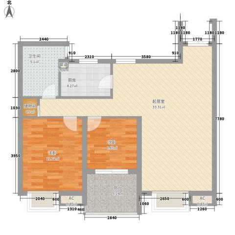 翠微品墅别墅2室0厅1卫1厨97.00㎡户型图