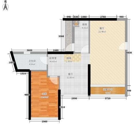 大学印象1室0厅1卫1厨90.00㎡户型图