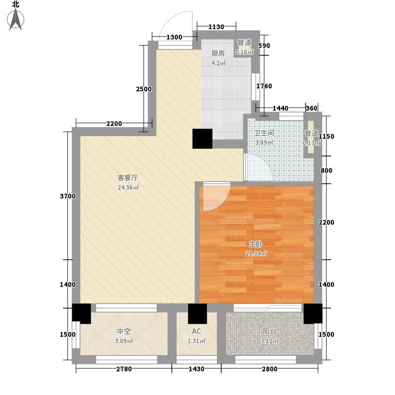 金都夏宫59.00㎡桃院T1奇数层户型1室2厅