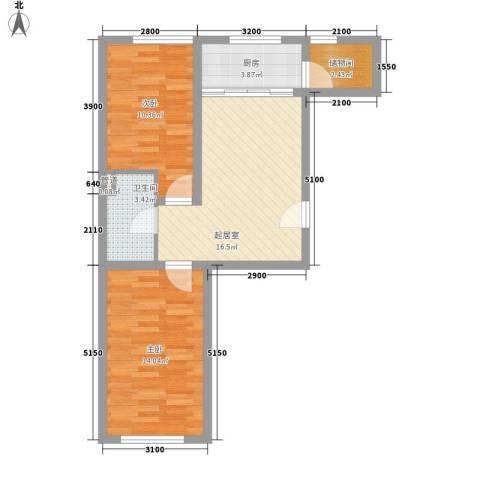 吉热东方二区2室0厅1卫1厨74.00㎡户型图