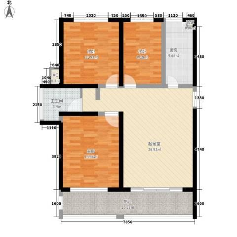 金榜华庭3室0厅1卫1厨120.00㎡户型图