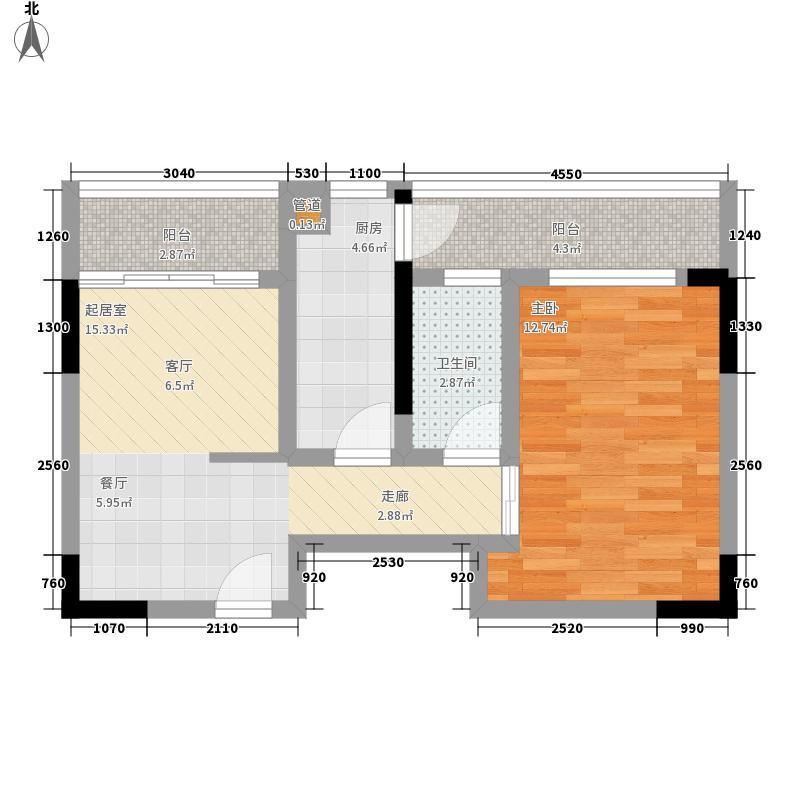 星河国际52.85㎡2号楼2#户型1室2厅1卫1厨