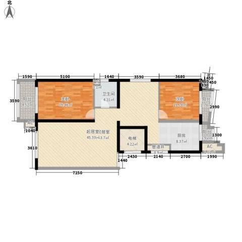 亚泰豪苑2室0厅1卫0厨135.00㎡户型图