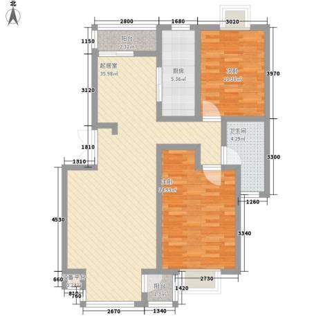 亚都名苑2室0厅1卫1厨101.00㎡户型图