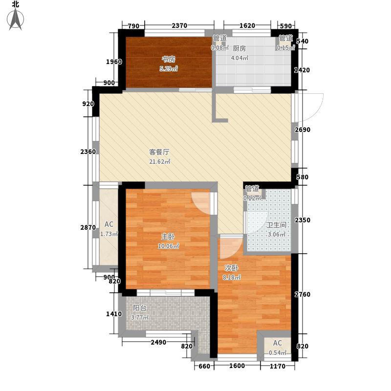 金都夏宫87.00㎡荷院3号楼边套C4户型3室2厅
