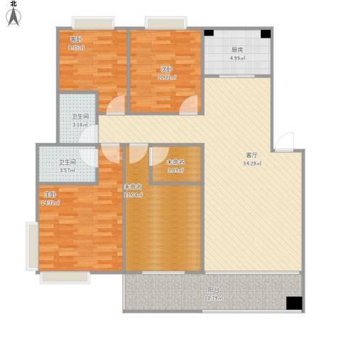 竹园新城3室1厅2卫1厨144.00㎡户型图