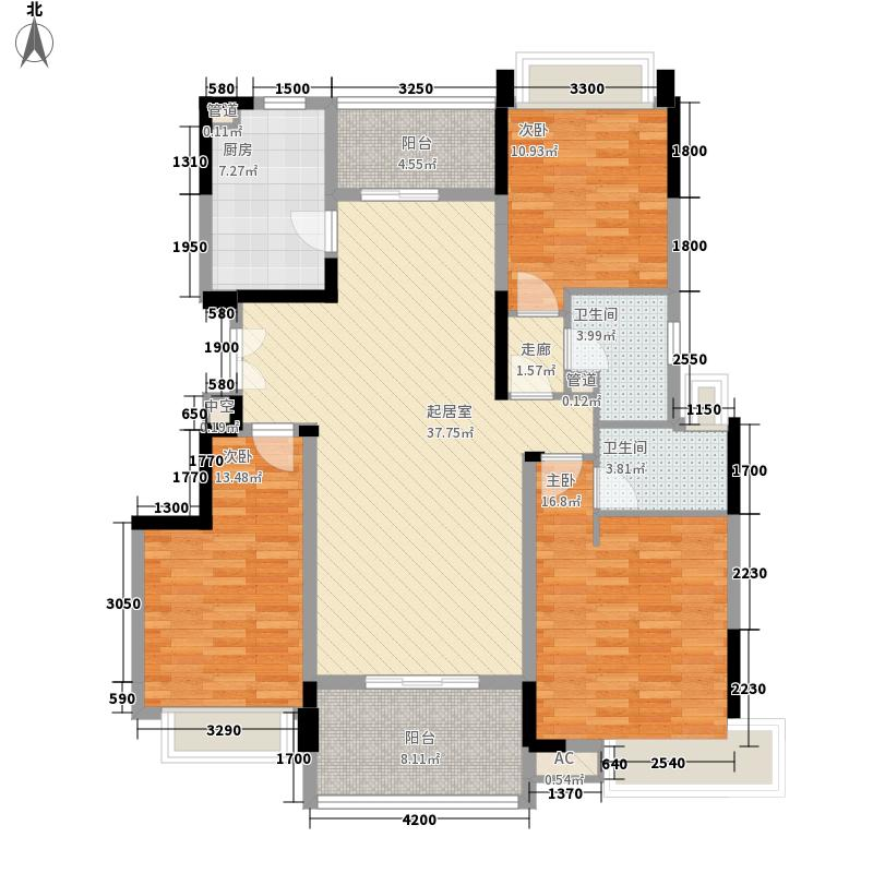 华发四季135.00㎡H+双阳台户型3室2厅