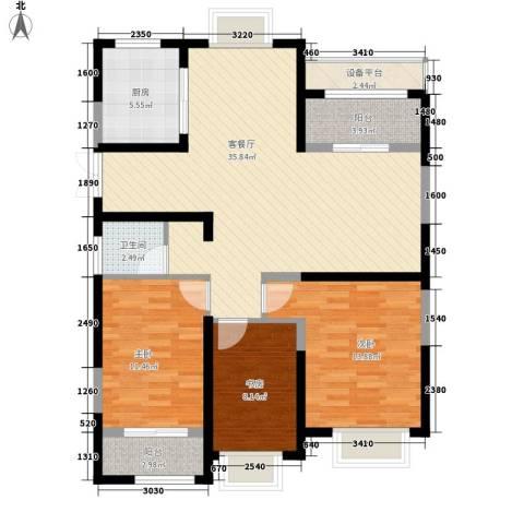 南通中央商务区3室1厅1卫1厨125.00㎡户型图