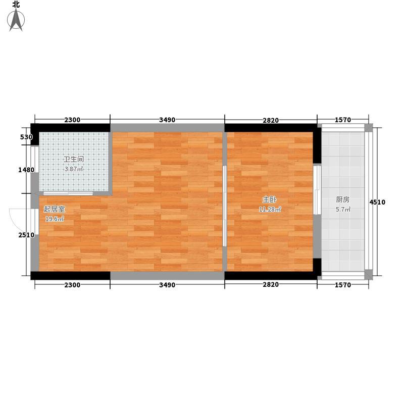 五洲国际广场银河城57.34㎡A户型1室1厅1卫