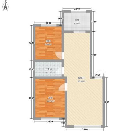 新地山湾2室1厅1卫1厨84.00㎡户型图