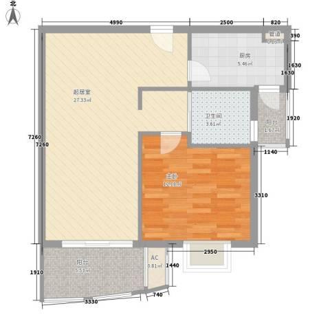 东方曼哈顿尚东区1室0厅1卫1厨80.00㎡户型图