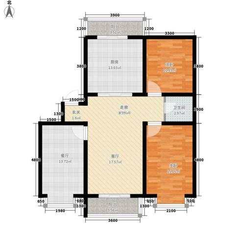 青阳四季园2室2厅1卫1厨130.00㎡户型图
