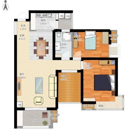 玫瑰992室1厅1卫1厨109.00㎡户型图
