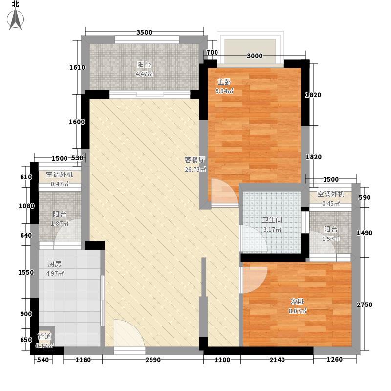 金茂珑悦81.08㎡7/16号楼1/8号房套内6431户型2室2厅