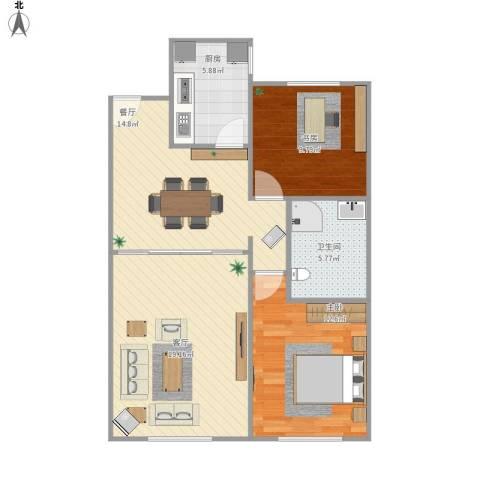 万科・润园2室2厅1卫1厨92.00㎡户型图