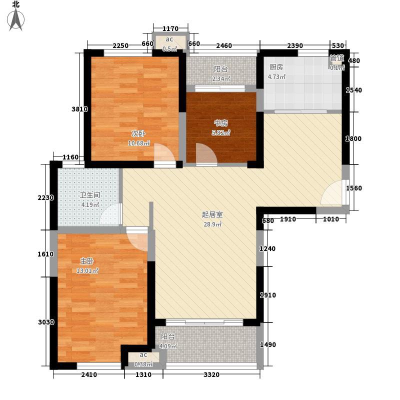 丽景苑109.44㎡一期户型3室3厅