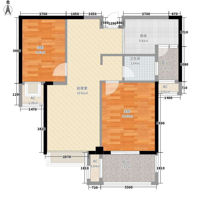 当代安普顿小镇85.77㎡四期21、22号楼H-B户型2室2厅