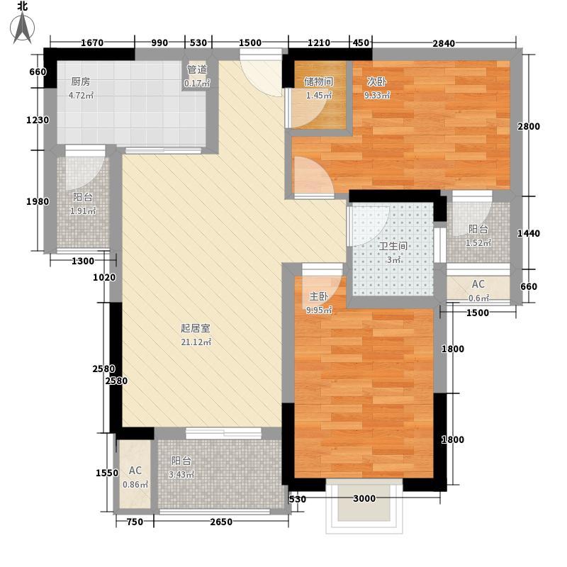 金茂珑悦一期1、6号楼A-1户型2室2厅