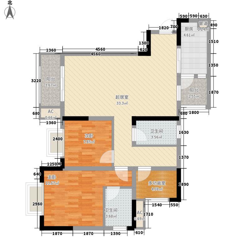 金茂珑悦一期2号楼3号房户型2室2厅
