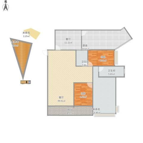 凯茵新城2室2厅2卫1厨179.00㎡户型图