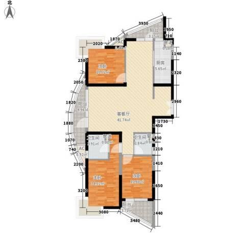 南通中央商务区3室1厅2卫1厨151.00㎡户型图