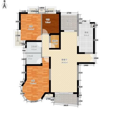 南通中央商务区3室1厅2卫1厨136.00㎡户型图