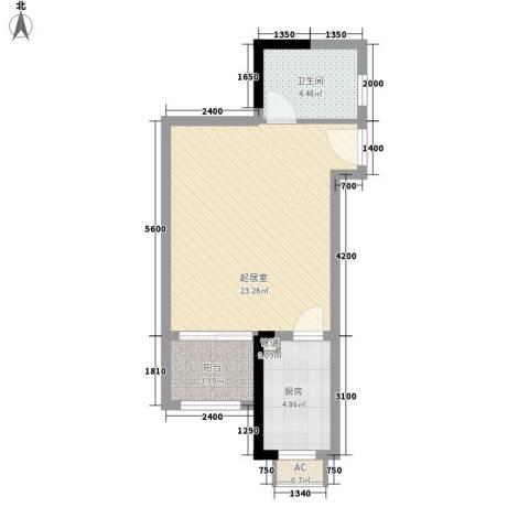 奥园温泉别墅1卫1厨47.00㎡户型图