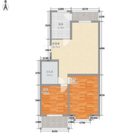 龙云家园2室0厅1卫1厨96.00㎡户型图