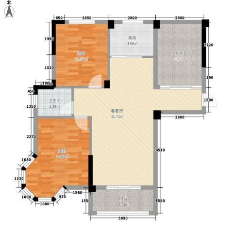 圆梦08庄园2室1厅1卫1厨97.00㎡户型图