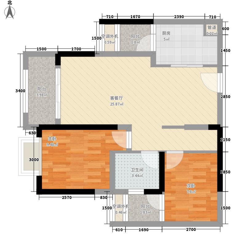 金茂珑悦81.21㎡15号楼1/8号房套内6431户型2室2厅