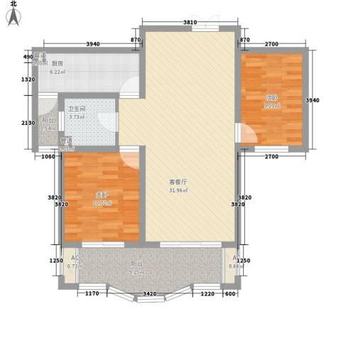 南通中央商务区2室1厅1卫1厨105.00㎡户型图