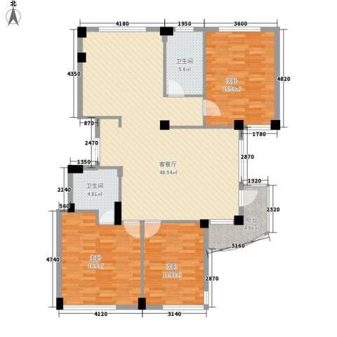 南通中央商务区3室1厅2卫0厨151.00㎡户型图