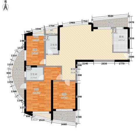 南通中央商务区3室1厅2卫1厨143.00㎡户型图