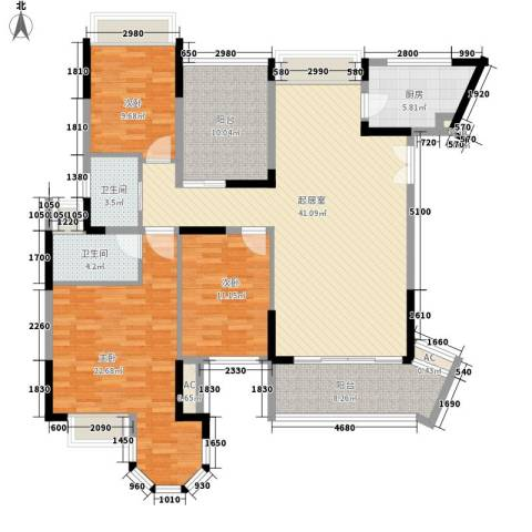 花样年君山别墅3室0厅2卫1厨134.06㎡户型图